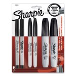 Sharpie Mixed Point Size Permanent Markers, Assorted Tips, Black, 6/Pack (SAN2135318)