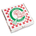 "Corrugated Kraft Pizza Boxes, E-Flute, White/Red/Green, 10"" Pizza, 10 x 10 x 1.75, 50/Carton (BOXPZCORE10P)"