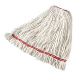 "Rubbermaid Commercial Web Foot Shrinkless Looped-End Wet Mop Head, Cotton/Synthetic, Large, White, 1"" White Headband (RCPA21306WH00)"