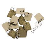 "Securit Extra Blank Hook & Loop Tags, 1 1/8"" x 1"", Beige, 12 Tags (ICX94190029)"