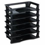 Rubbermaid Regeneration Letter Tray, Six Tier, Plastic, Black (RUB86028)
