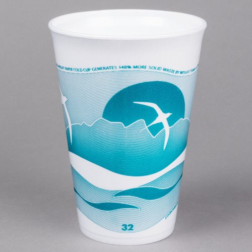 Dart Container 32 Oz Horizon Design Foam Cup Teal Color