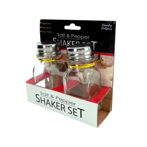 Handy helpers squared salt and pepper shaker set kole hr221 - Salt and pepper shaker display case ...
