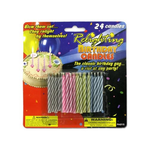 Bulk Buys Relighting Birthday Candles 24 Pack KOLE PA015