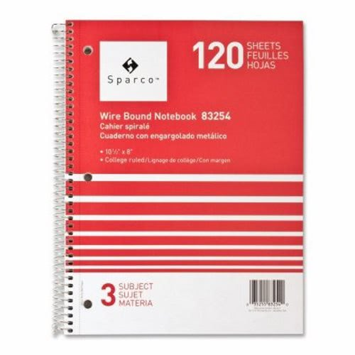Sparco Notebooks,3 Subject,10-1/2