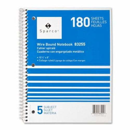 Sparco Notebooks,5 Subject,10-1/2