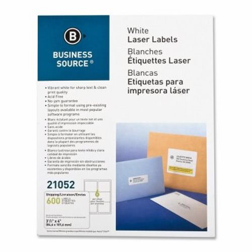 business source mailing label laser 3 1 3 x4 600 pk white bsn21052