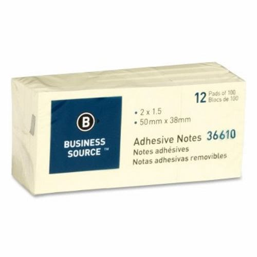 Business Source Adhesive Notes, 100 Sheets, 1-1/2