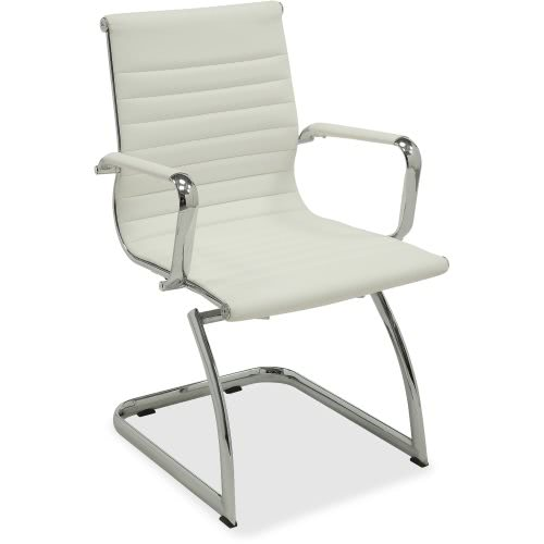 Enjoyable Lorell Modern Guest Chair 23 8Wx23 5Dx35 5H White Leather 2 Chairs Llr59504 Beatyapartments Chair Design Images Beatyapartmentscom