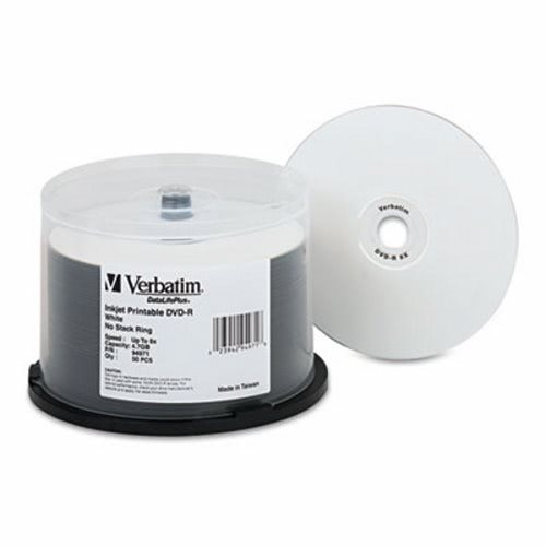 graphic regarding Ink Jet Printable Dvd known as Verbatim Inkjet Printable 4.7GB 8x DVD-R Discs, Spindle, White, 50/Pk (VER94971)