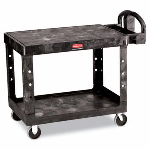 Rubbermaid 4525 Flat Shelf Utility Cart 2 Shelf Black