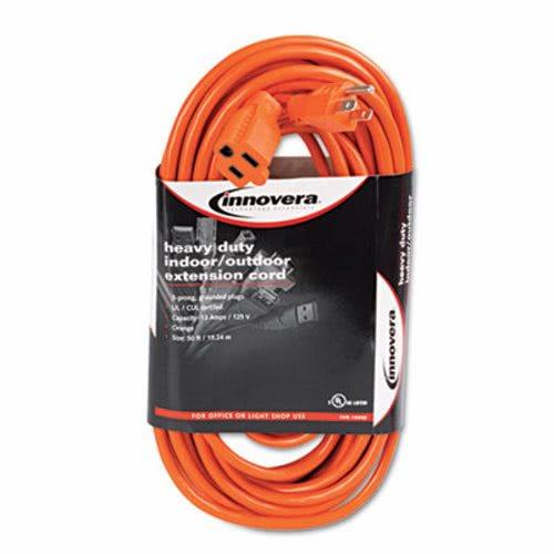Innovera Indoor Outdoor Extension Cord 50 Feet Orange Ivr72250