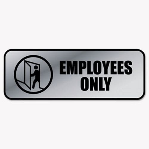 cosco brushed metal office sign employees only 9 x 3 silver cos098206