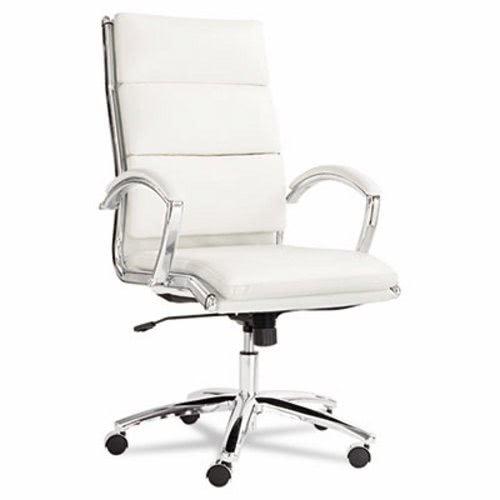 Alera Neratoli High Back Swivel/Tilt Chair, White Faux Leather, Chrome  Frame ALENR4106