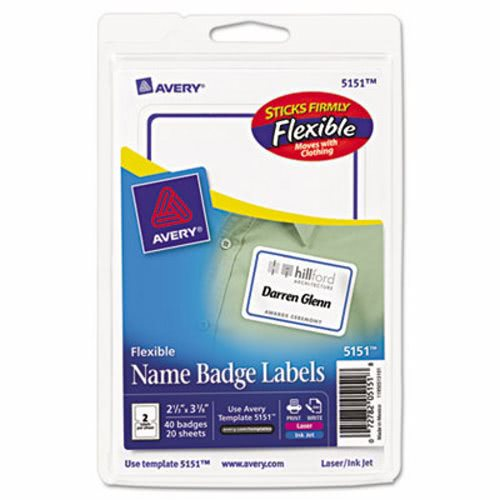 avery name badge labels white blue 40 labels ave5151