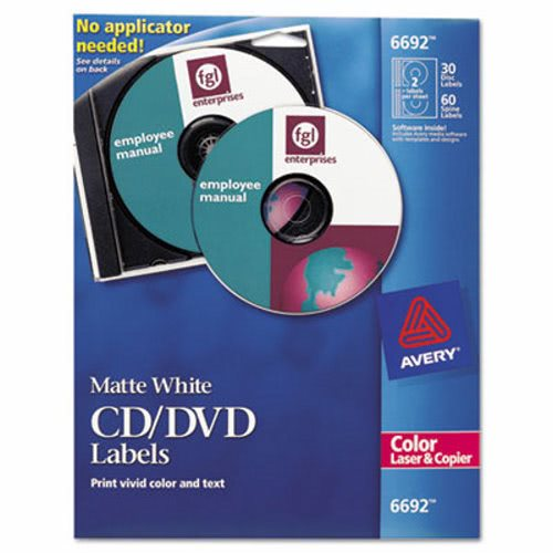 avery laser cddvd labels matte white 30pack ave6692