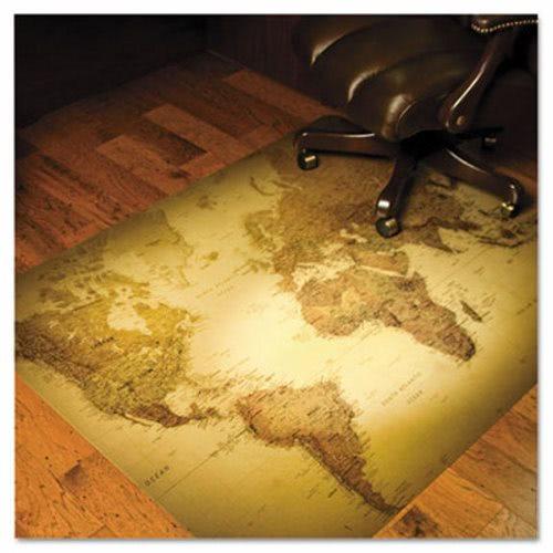 Es Robbins World Map 48x36 Rectangle Chair Mat Multi Task