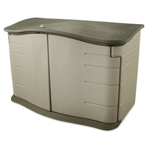 Charming Rubbermaid Horizontal Outdoor Storage Shed, Sandstone/Olive (RHP 3748)