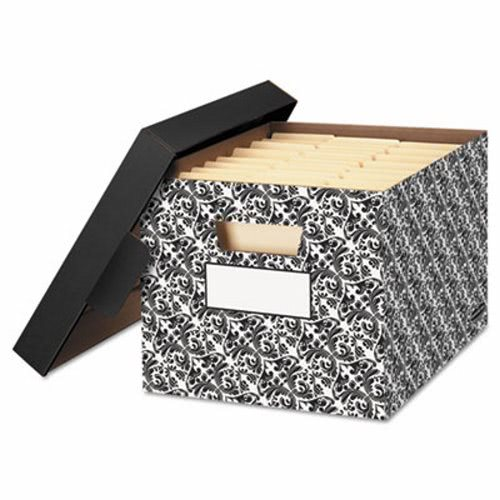 Beau Bankers Box Decorative Medium Duty Storage Boxes, Ltr, Black/White  (FEL0022705)