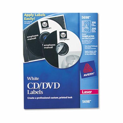 avery laser cd dvd labels matte white 100 pack ave5698