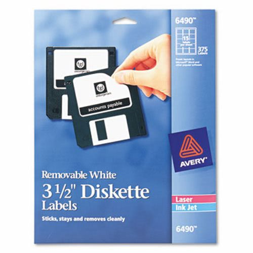 avery laser inkjet 3 5in diskette labels white 375 pack ave6490
