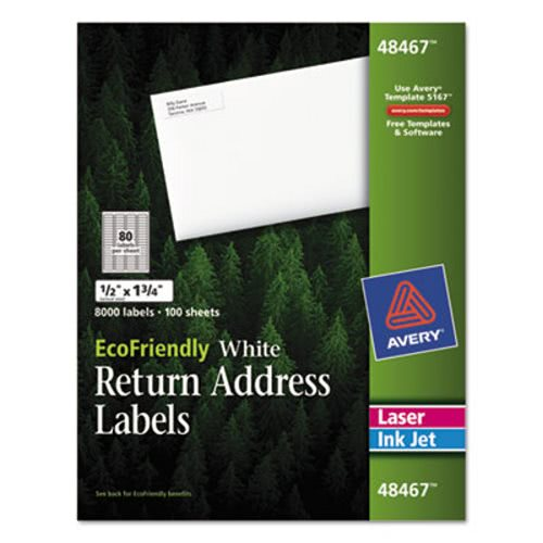 avery ecofriendly labels 1 2 x 1 3 4 white 8000 pack ave48467