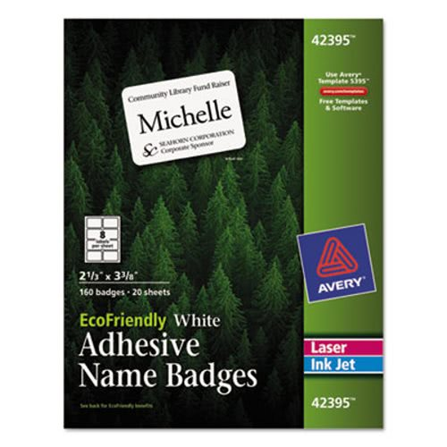 avery eco friendly name badge labels white 160 labels ave42395