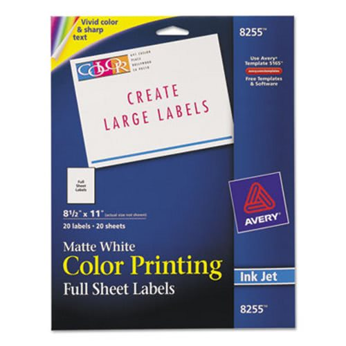 avery inkjet labels for color printing 8 1 2 x 11 matte white 20