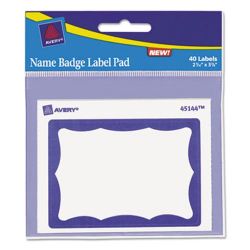 avery name badge label pad 3 x 4 blue white 40 labels ave45144