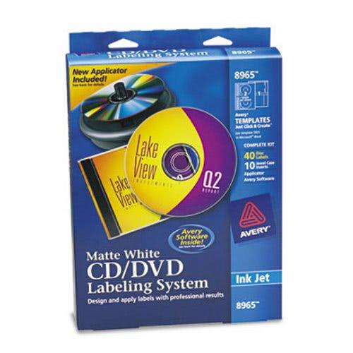 avery cd dvd design kit matte white 40 inkjet labels and 10