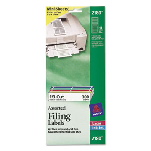 avery file folder labels on mini sheets 2 3 x 3 7 16 assorted 300