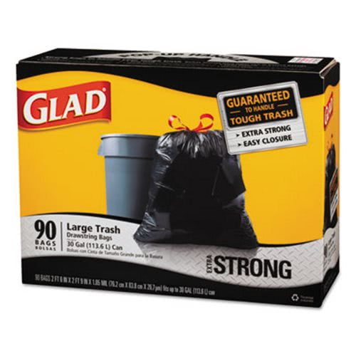 Glad 30 Gallon Black Drawstring Trash Bags 90 Clo 70313