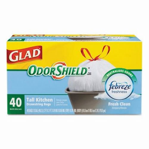 Glad Odorshield 13 Gallon Drawstring Kitchen Trash Bags Clo 78361