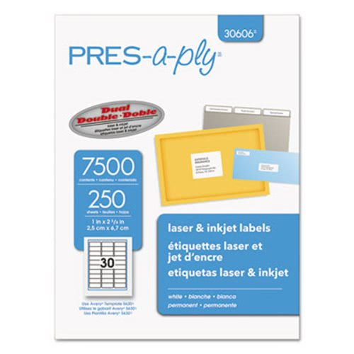 avery pres a ply laser address labels 1 x 2 5 8 white 7500 box