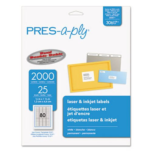 avery pres a ply laser address labels 1 2 x 1 3 4 white 2000 pack