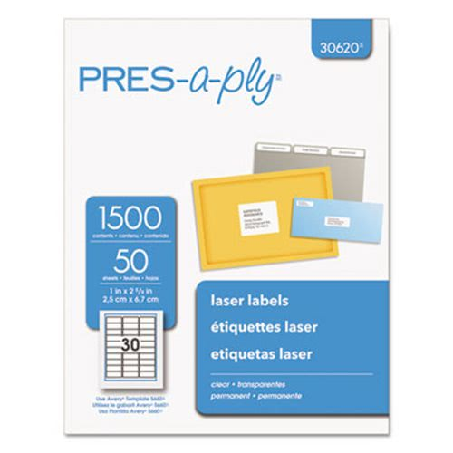 avery pres a ply laser address labels 1 x 2 5 6 clear 1500 box