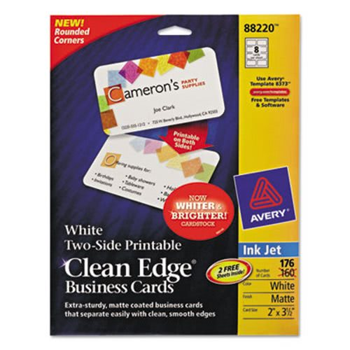 Avery clean edge inkjet business cards white round edge 2 x 3 12 avery clean edge inkjet business cards white 160 cards per pack ave88220 reheart Choice Image