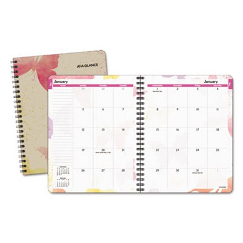 At A Glance Recycled Watercolors Monthly Planner Design 6 7 8 X 8