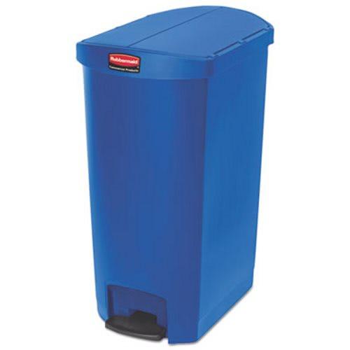 rubbermaid slim jim 18 gallon stepon trash can blue rcp1883596 - Slim Trash Can