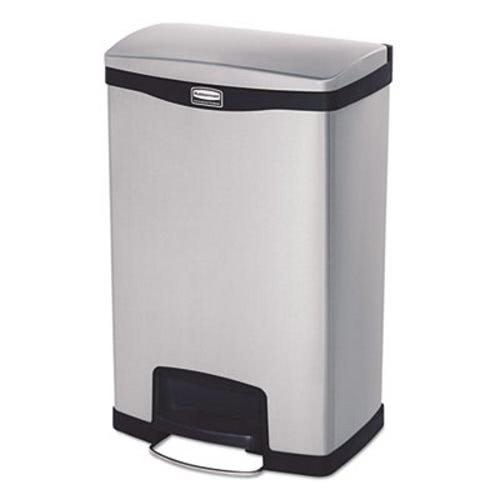 rubbermaid slim jim 13 gallon stepon trash can black rcp1901992