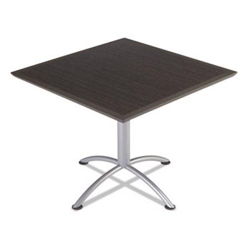 Iceberg Square Table, Dura Edge, 36w X 36d X 29h, Walnut/Silver (ICE69824)