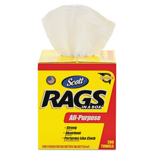 scott 75260 rags in a box multi purpose towels white 200 rags kcc75260 - Box Of Rags