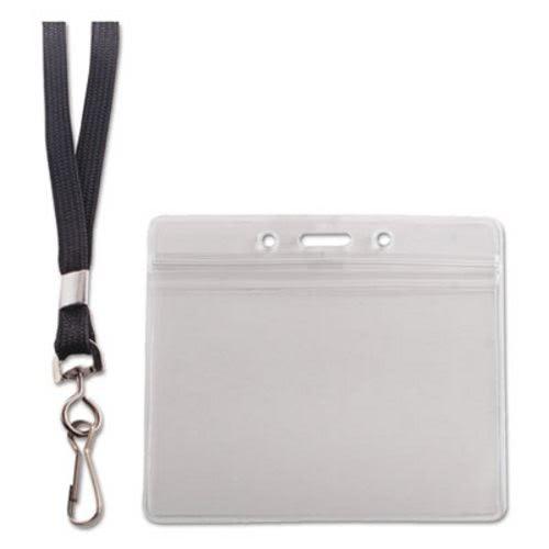 58037ea27842 Clear Resealable Horizontal ID Badge Holder, Lanyard, 20 Holders (AVT91132)