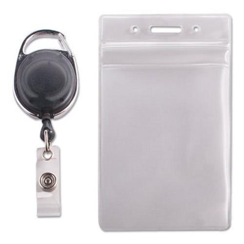 advantus resealable id badge holder avt91129