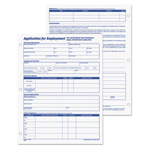 Tops Employee Application Form, 8 3/8 X 11, 50/Pad, 2/Pack Top32851