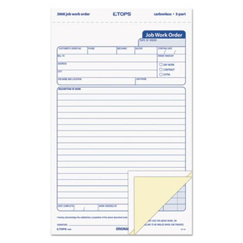 Tops Snap Off Job Work Order Form, Three Part Carbonless, 50 Forms (TOP3868)
