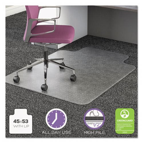 Superieur Deflecto Chair Mat For High Pile Carpet, 45 X 53 W/Lip, Clear  (DEFCM16233COM15)