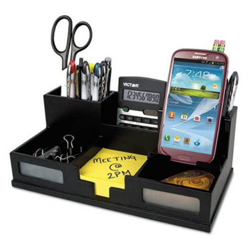 Victor Midnight Black Desk Organizer With Smartphone Holder Wood Vct95255