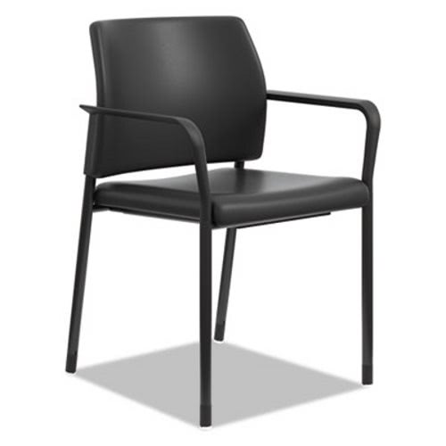 Hon Accommodate™ Series Guest Chair With Fixed Arms, Black Vinyl  (HONSGS6FBUR10B)