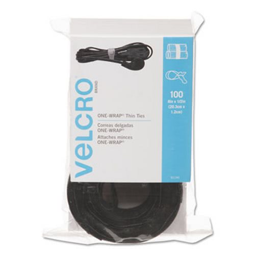 Velcro Reusable Self-Gripping Ties 1//2 x Eight Inches Black//Gray 50 Ties//Pack